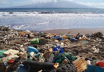 海洋垃圾充斥夏威夷群岛海滩.