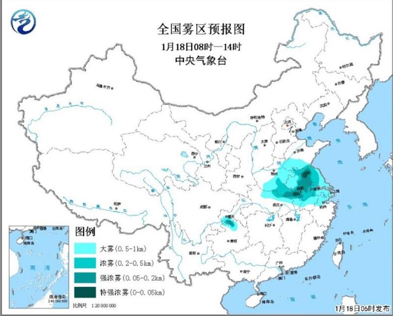 苏皖等地有大雾 华北局地黄淮江淮中至重度霾