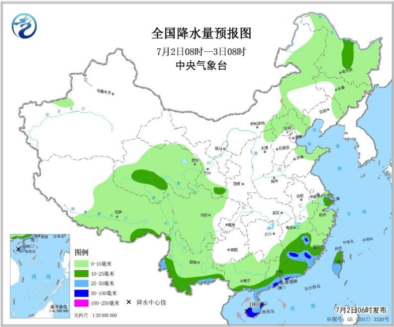 海南岛及华南南部沿海有较强风雨天气 华北中南部黄淮等地有高温天气