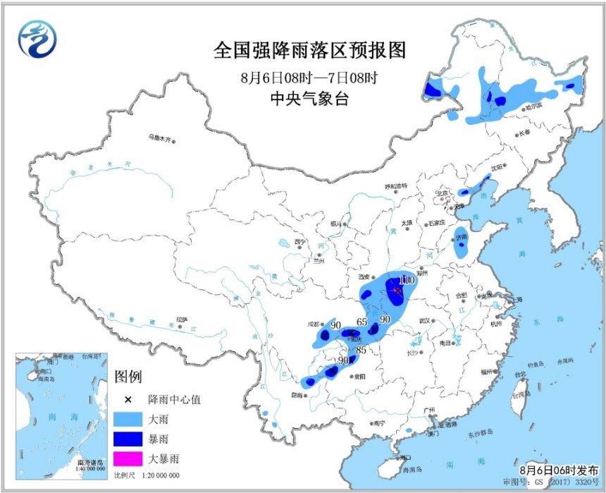 暴雨蓝色预警持续 东北地区及四川盆地等地有较强降水