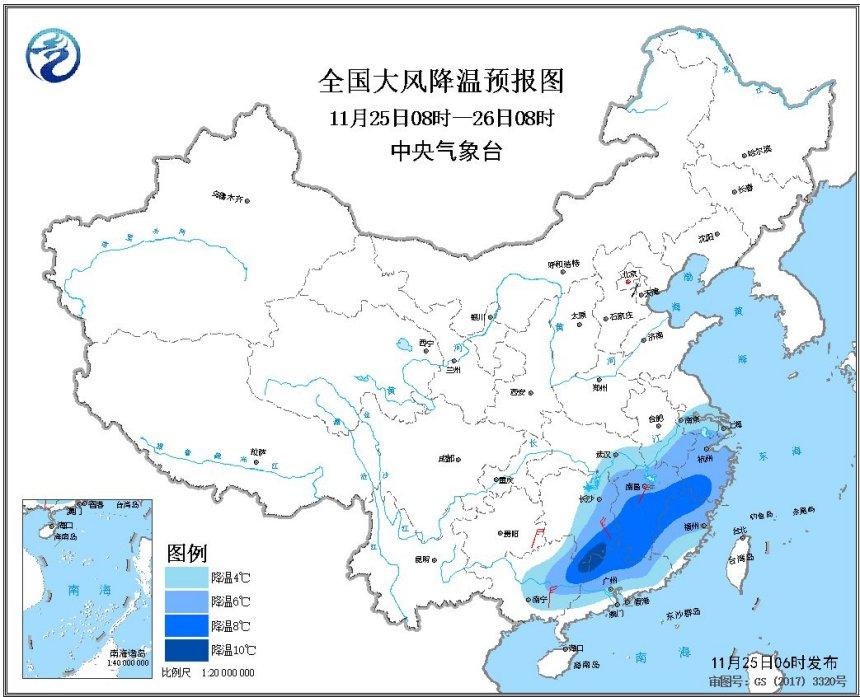 受较强冷空气影响,我国南部地区气温普遍下降4~8℃