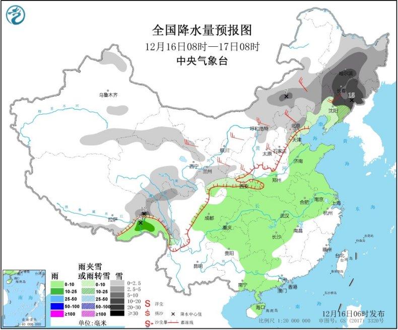 华北东北等地有降雪过程冷空气将