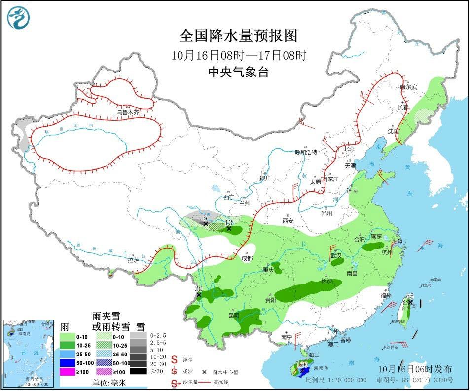 """海南东部被较强降雨""""纠缠""""阴雨笼罩华西地区"""