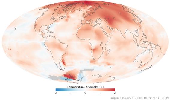 美国宇航局发布最新全球变暖形势图